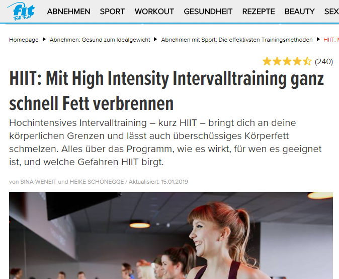 Fitforfun.de Bericht über das hochintensive Intervalltraining